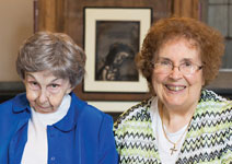 Photo of Sr. Jean Crapo '46 and Betty Gloudeman Scharfenberger '46.  Link to Betty's story.
